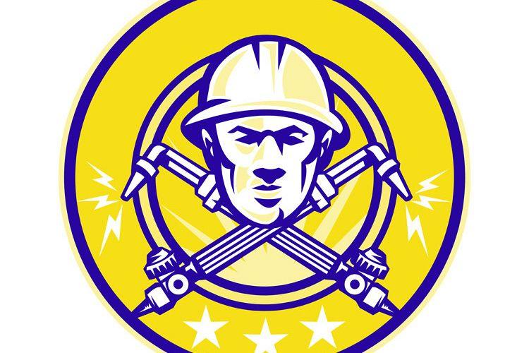 Welder Worker Head Welding Torch Crossed example image 1