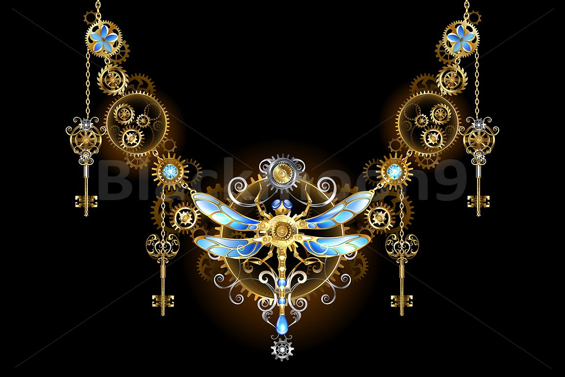 Symmetric Ornament with Dragonfly ( Steampunk ) example image 1
