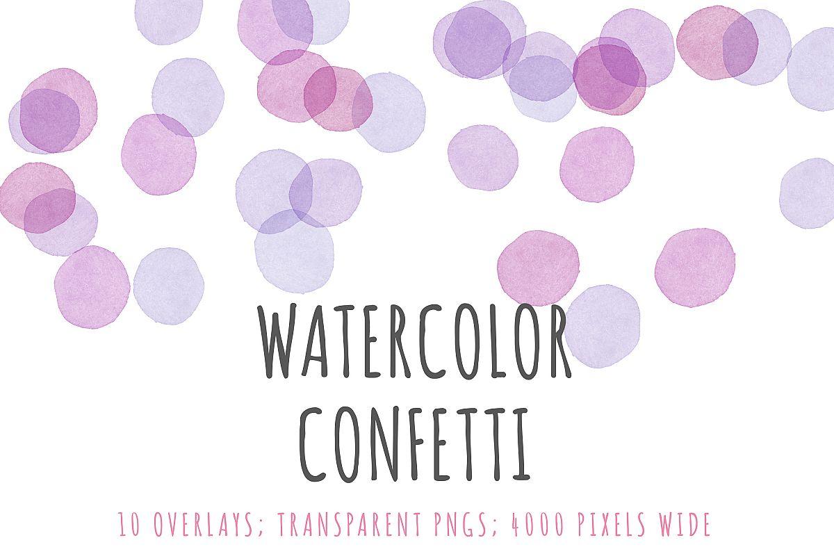 Watercolor confetti border overlays example image 1
