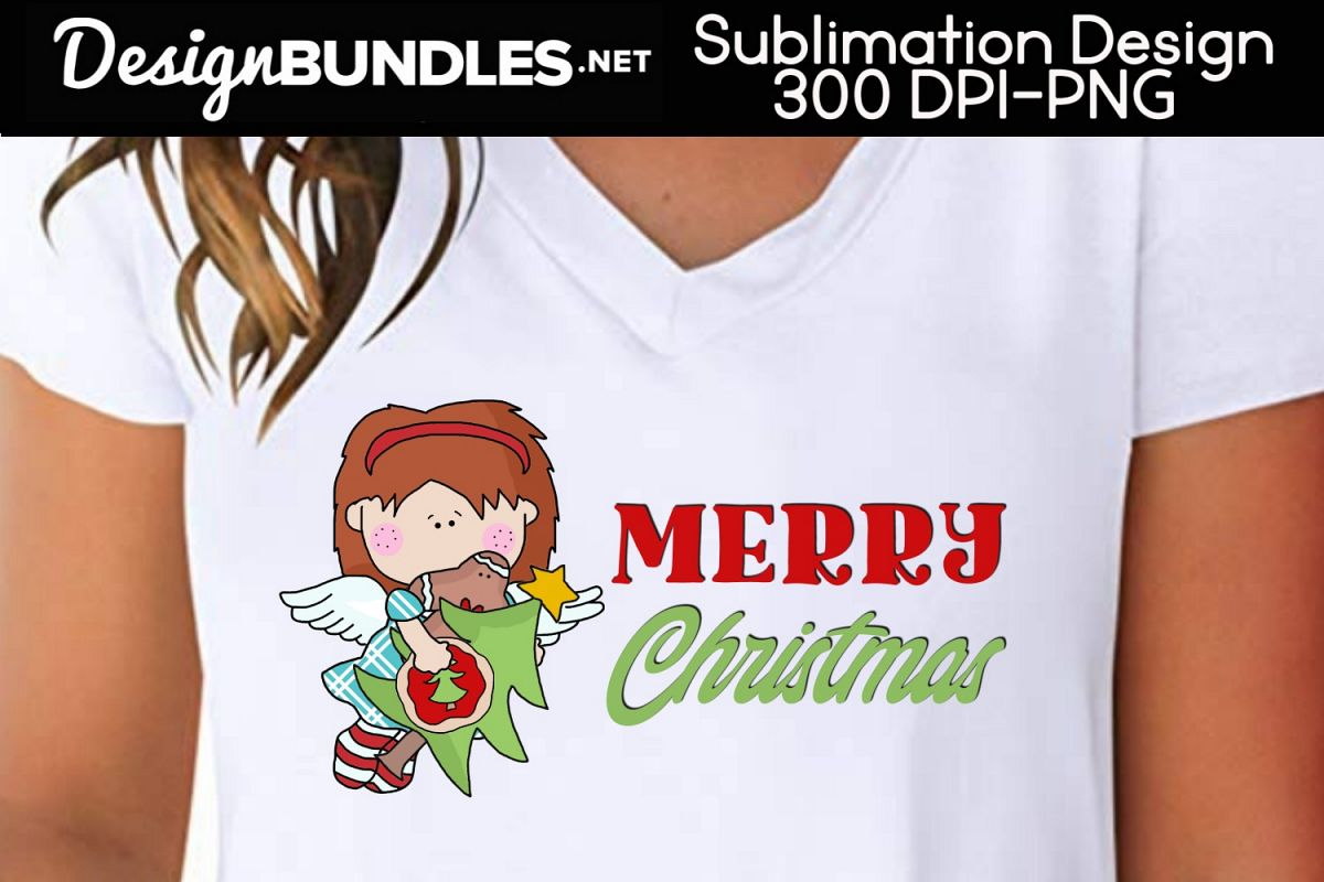 Merry Christmas Angel Sublimation Design example image 1