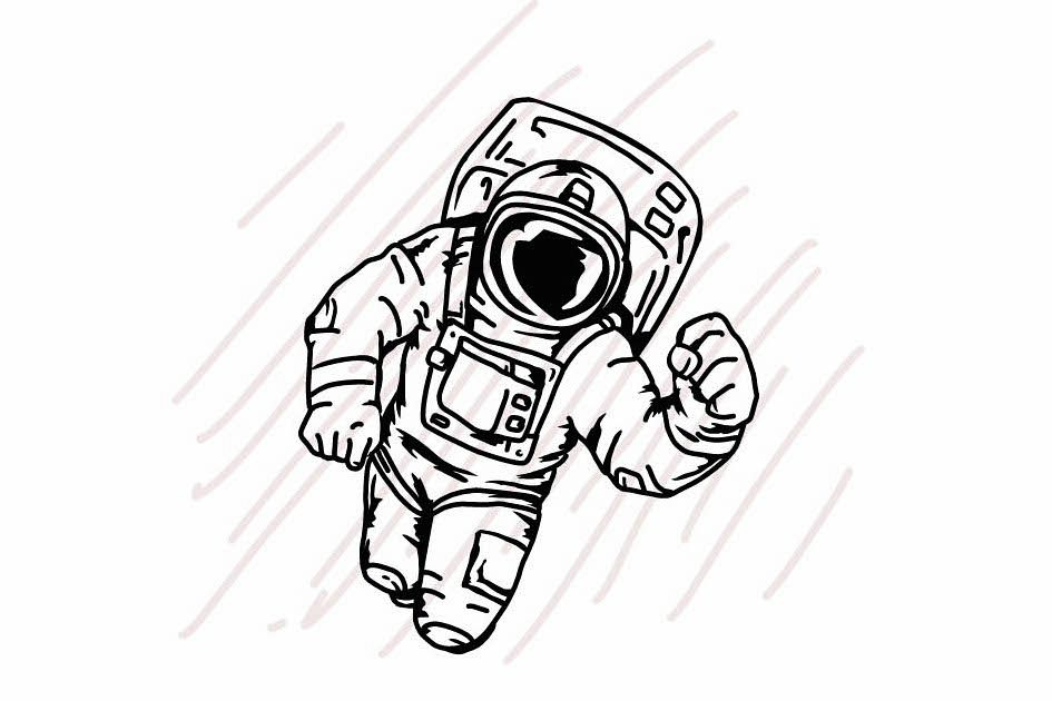 Astronaut floating in the space - SVG/JPG/PNG Hand Drawing example image 1