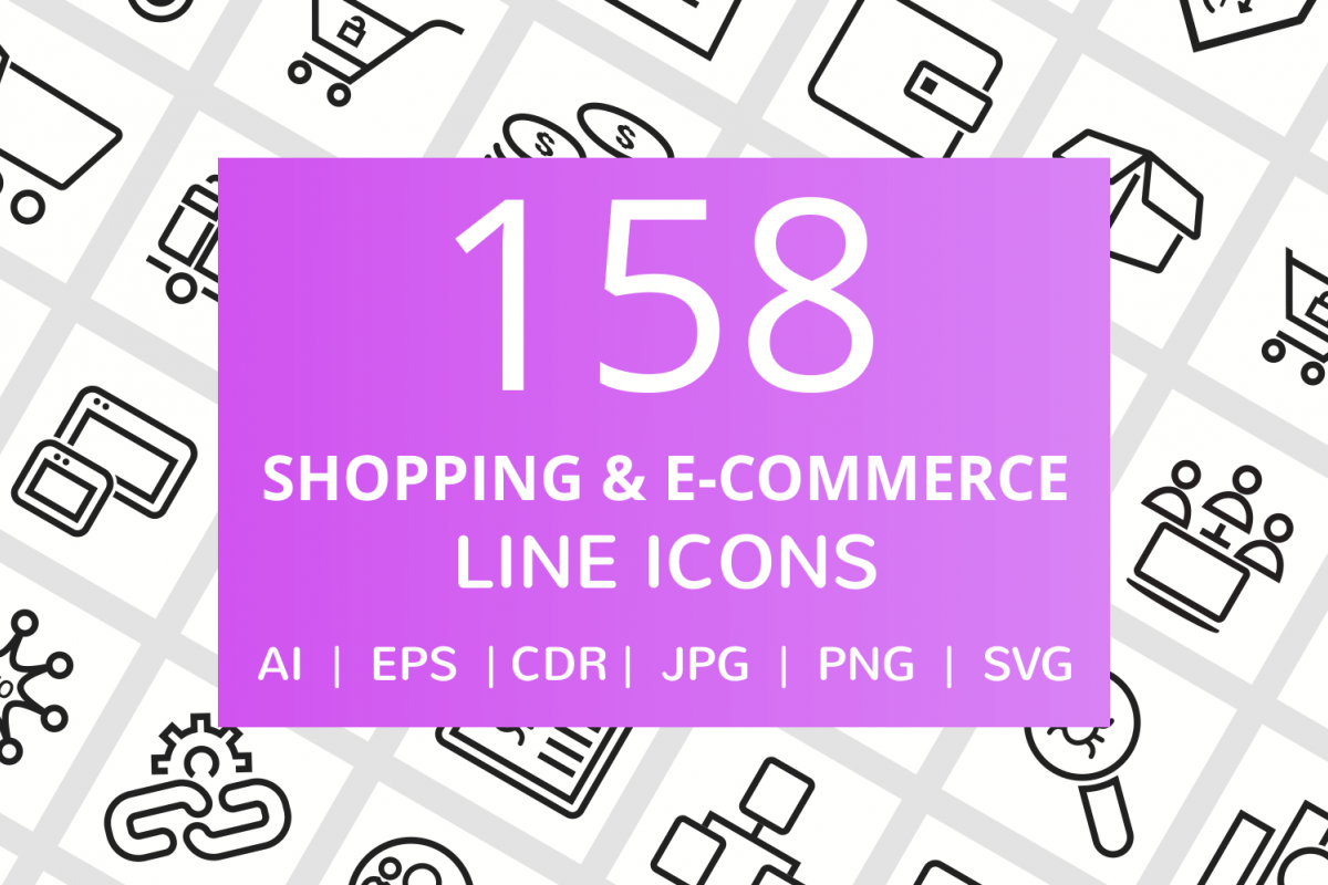 158 Shopping & E-Commerce Line Icons example image 1