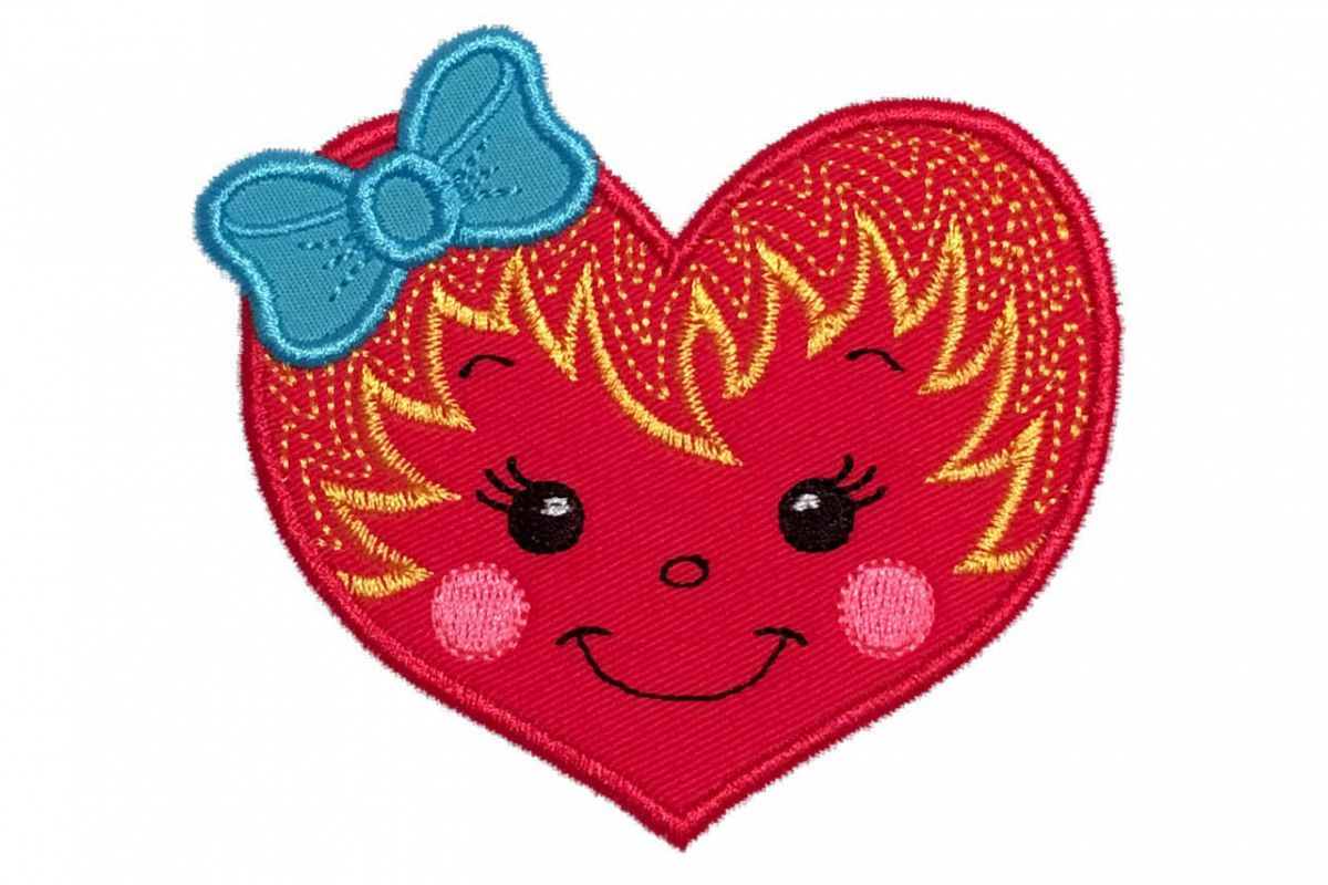 Girl heart machine embroidery applique design.