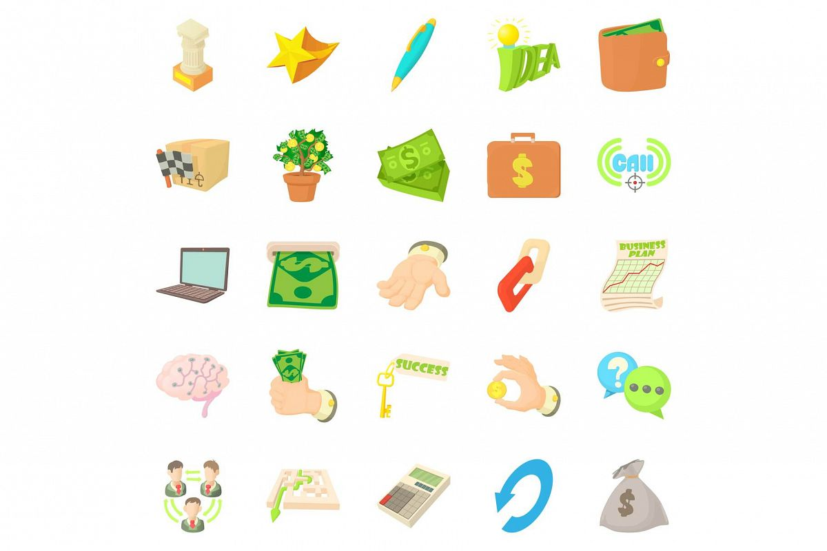 Payment by cash icons set, cartoon style example image 1
