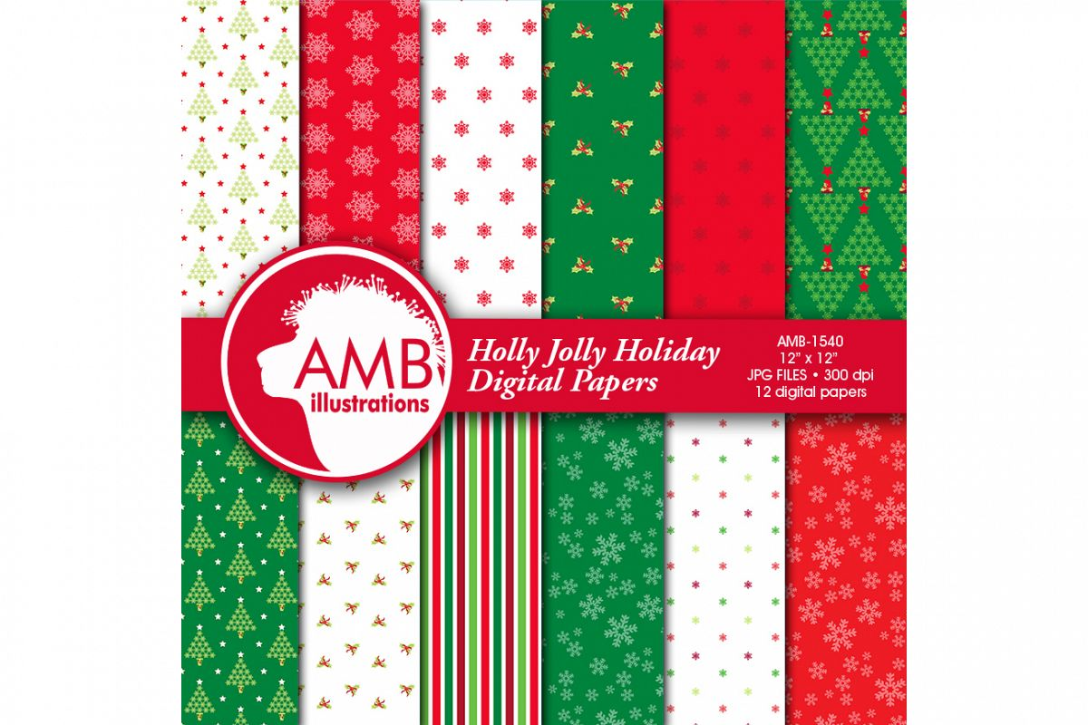 Traditional Christmas digital paper, Holly Jolly Papers, Holiday digital paper, commercial use, instant download, AMB-1540 example image 1
