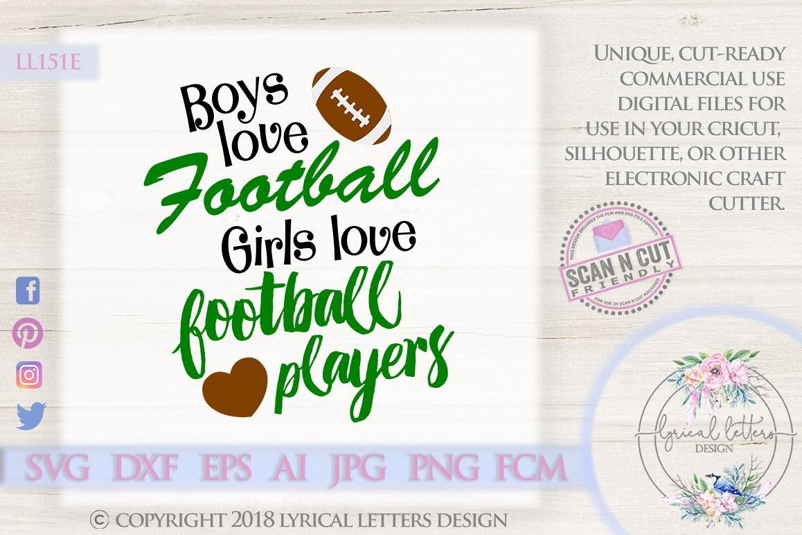 Boys Love Football Girls Love Football Players SVG DXF LL151 example image 1
