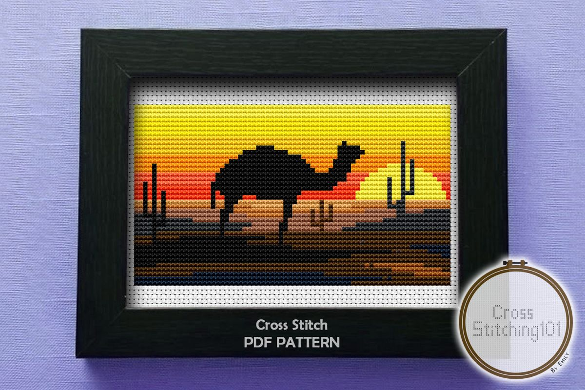 Desert Eve Cross Stitch Pattern - Instant Download PDF example image 1