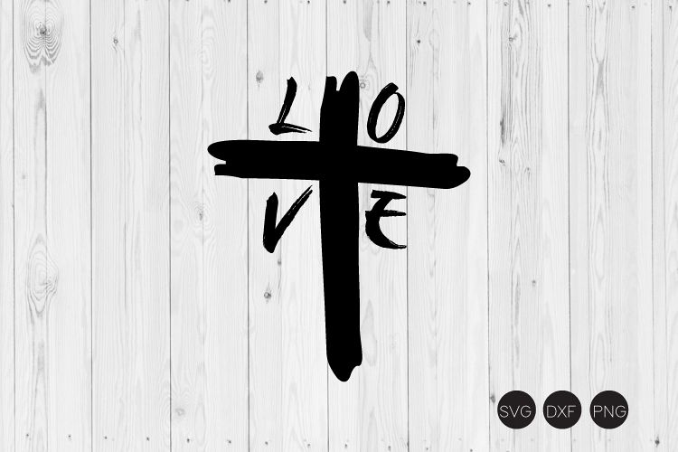 Love Cross Distressed SVG example image 1
