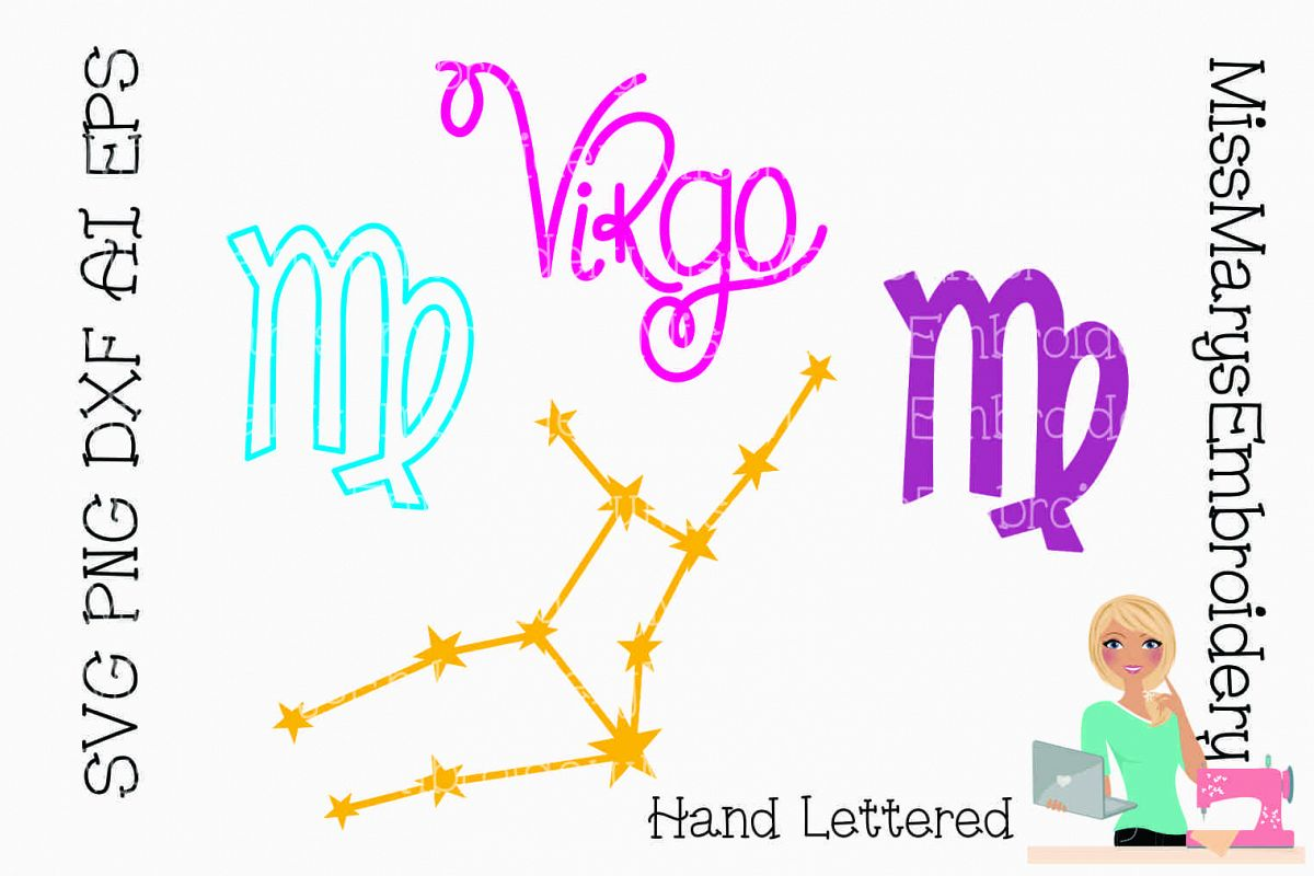 Virgo Astrology Bundle SVG PNG DXF AI EPS example image 1