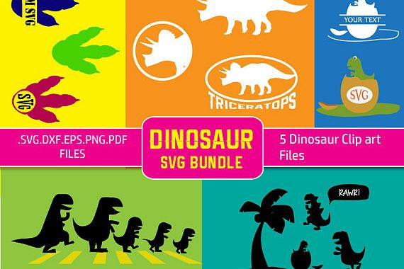 Dinosaur Svg File Bundle Vector clipart collection. Triceratops, T. Rex Dinosaurs svg, dxf, eps cut files for Cricut and Silhouette Cameo example image 1
