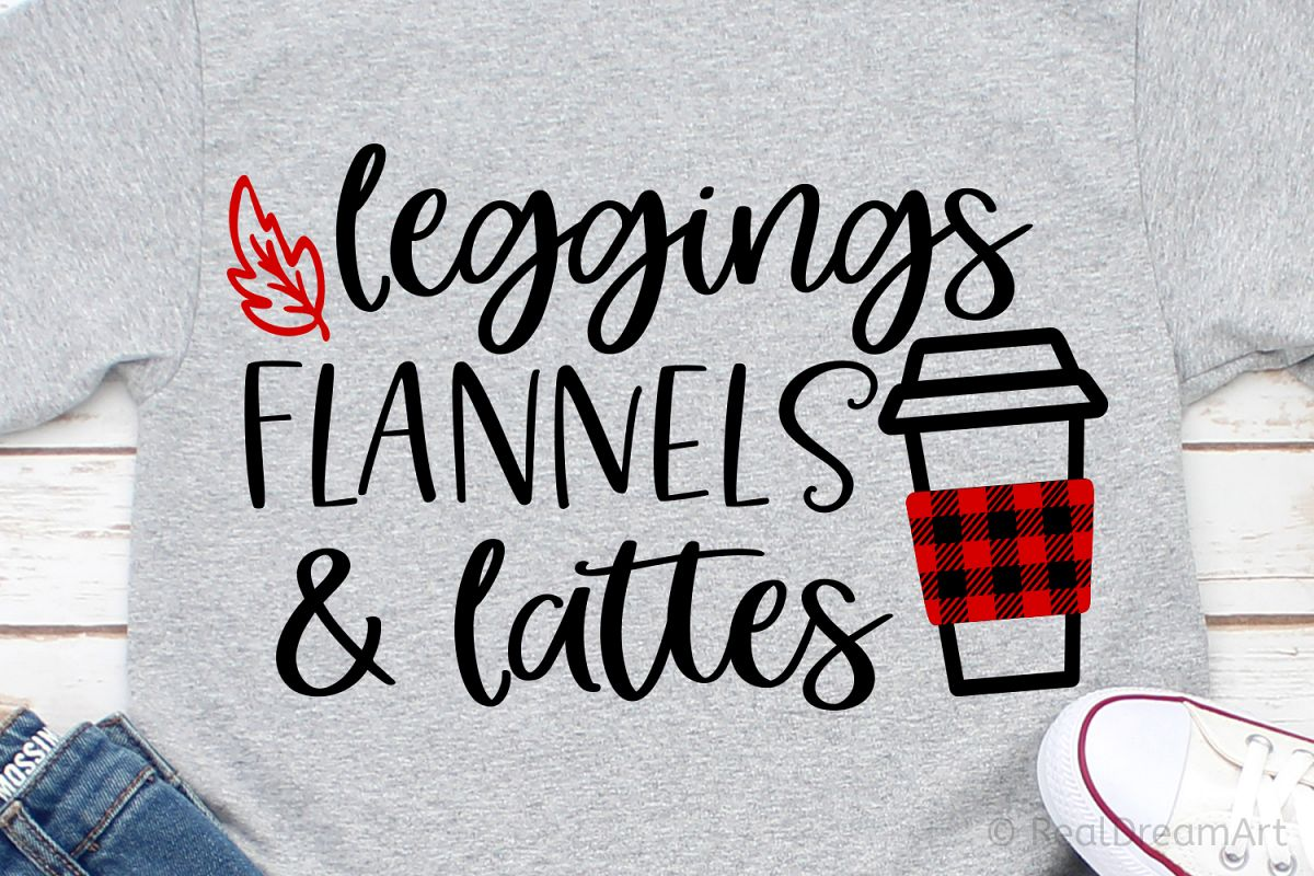 Leggings Flannels & Lattes SVG, DXF, PNG, EPS example image 1