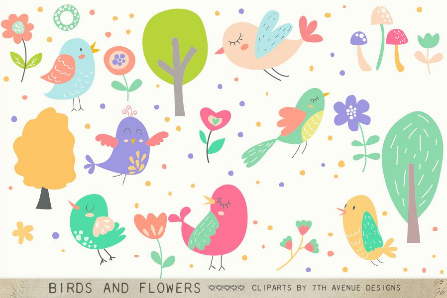 Birds and Flowers Cliparts example image 1