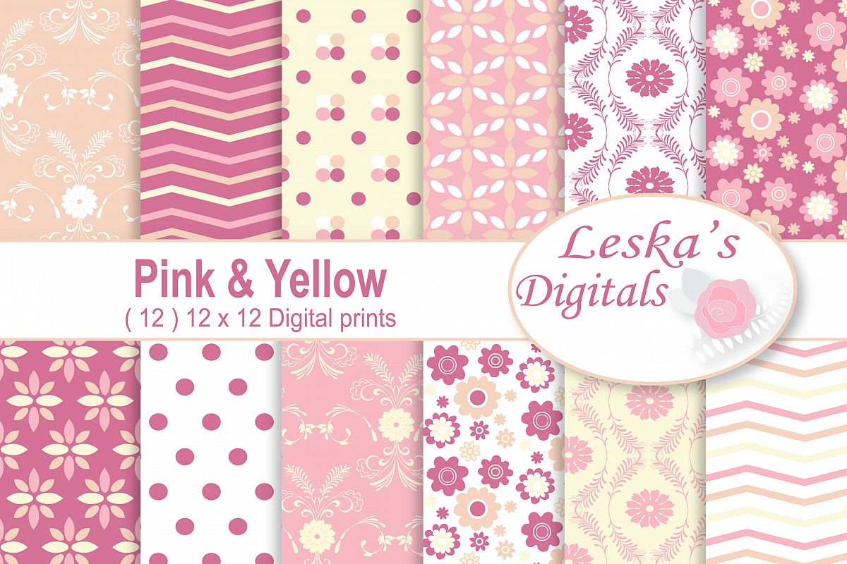 Pink and Yellow Digital Patterns example image 1