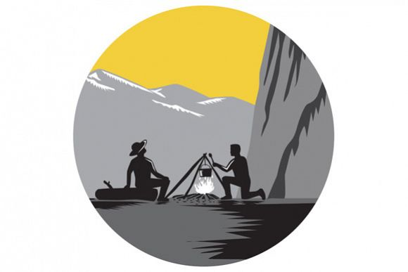 Campers Sitting Cooking Campfire Circle Woodcut example image 1