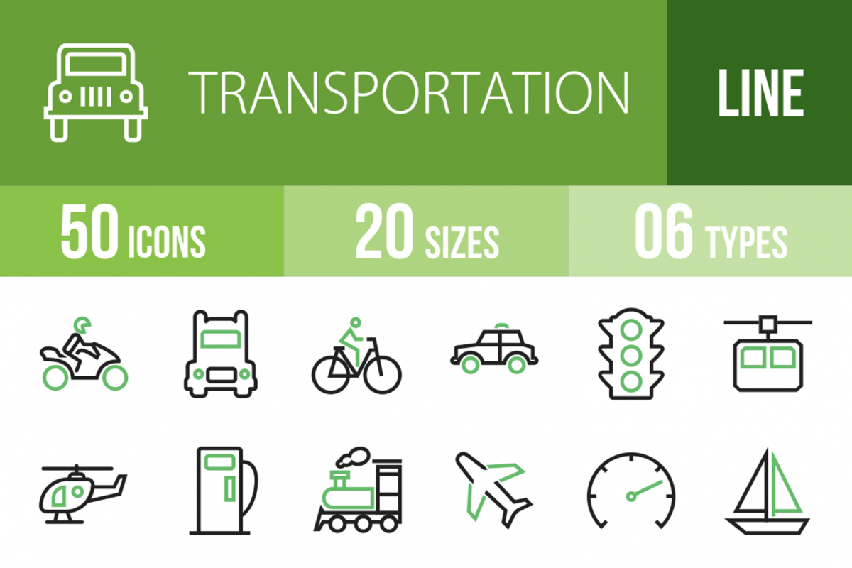 50 Transportation Line Green & Black Icons example image 1