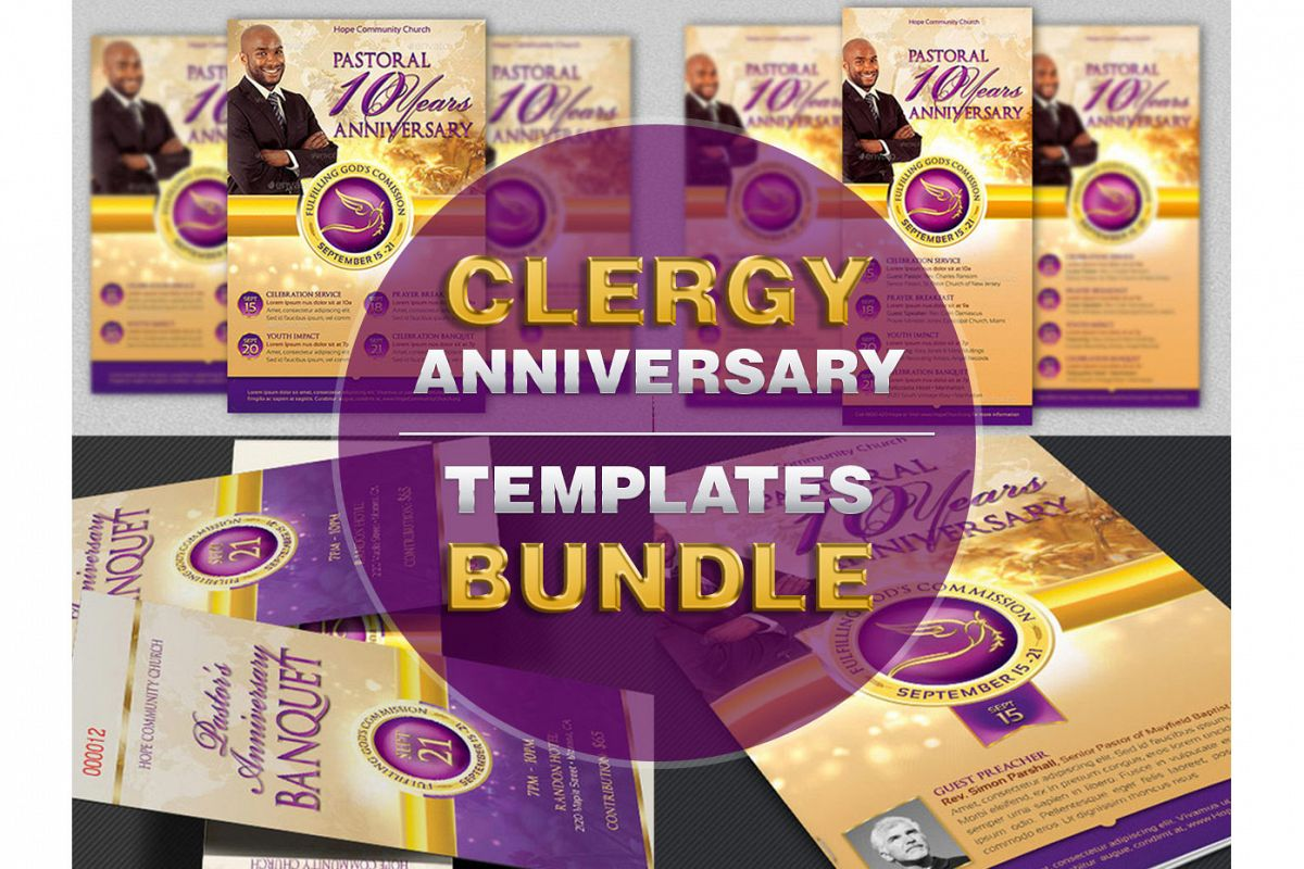 Clergy Anniversary Template Bundle example image 1