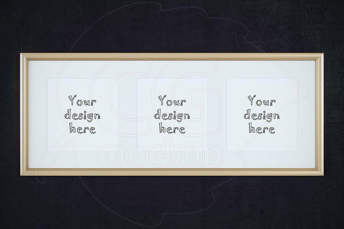 Triptych gold frame with matt mockup