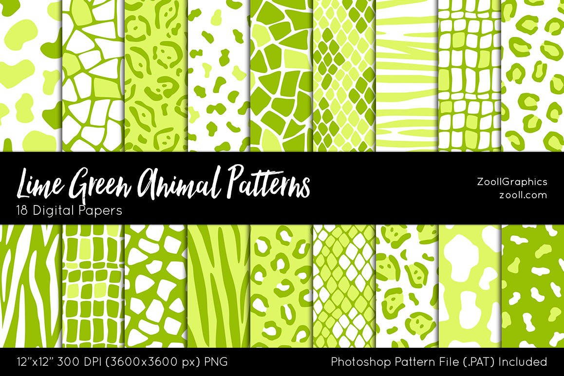 lime green animals patterns digital papers example image 1