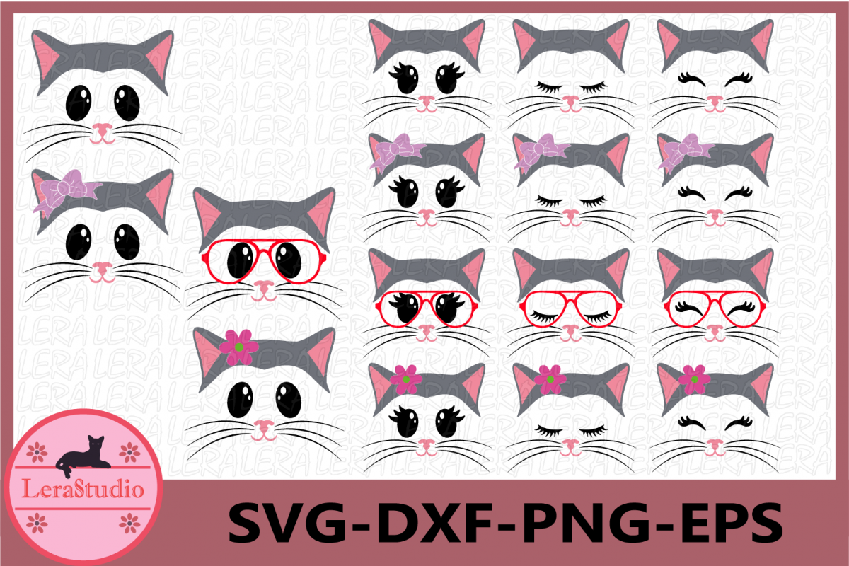 Cat Face SVG, Animal face svg, Cat Eyelashes Face, Cat SVG example image 1