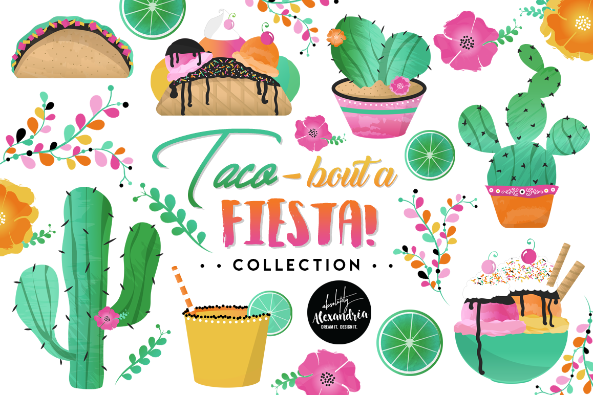 Taco Bout A Fiesta 2 Clipart Graphics & Digital Paper Patterns Bundle example image 1