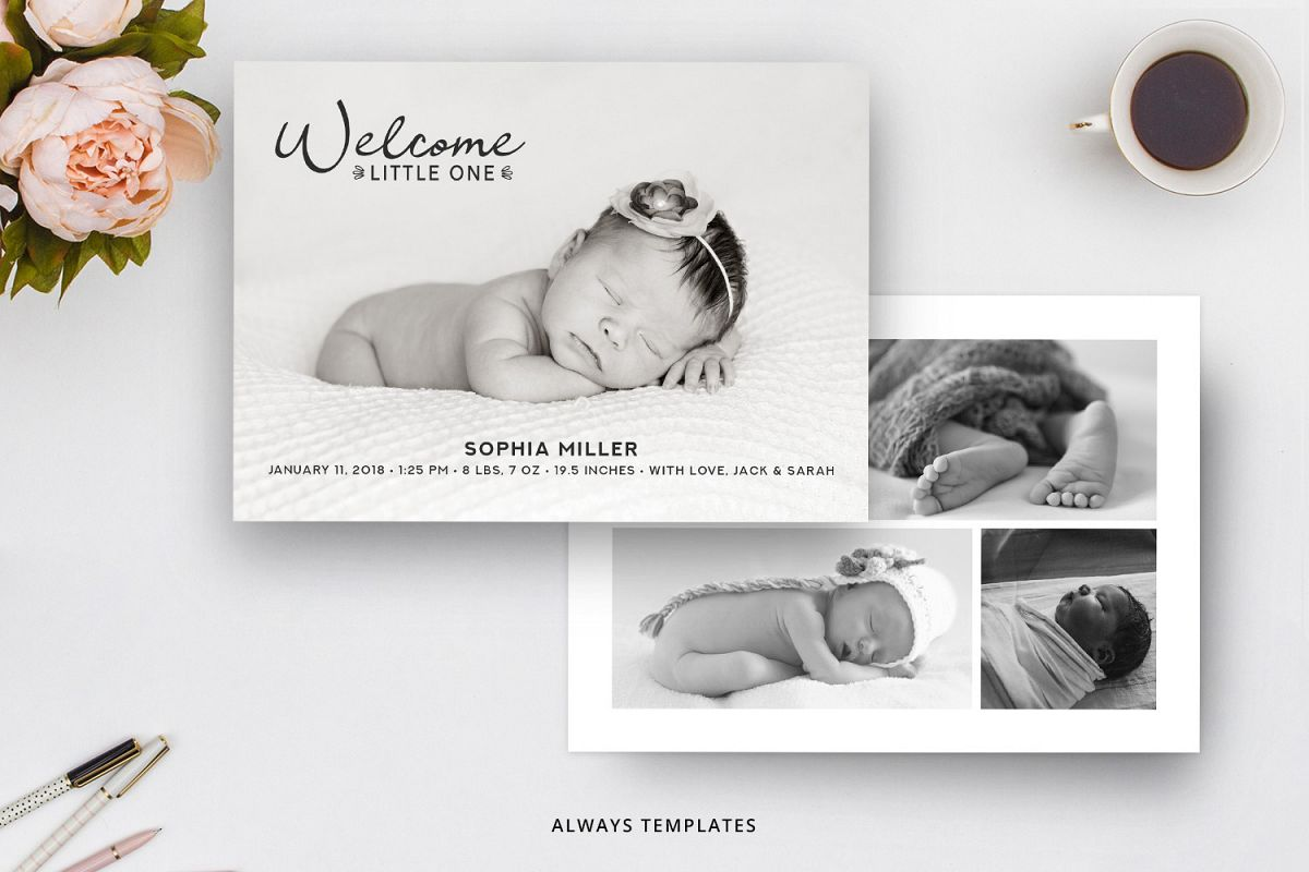 Birth Announcement Template BA005 example image 1