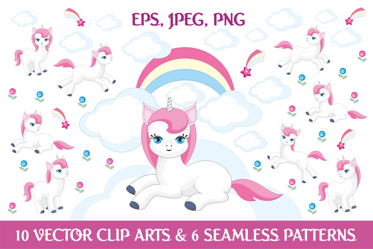 Magic unicorns. Vector elements and patterns. example image 1