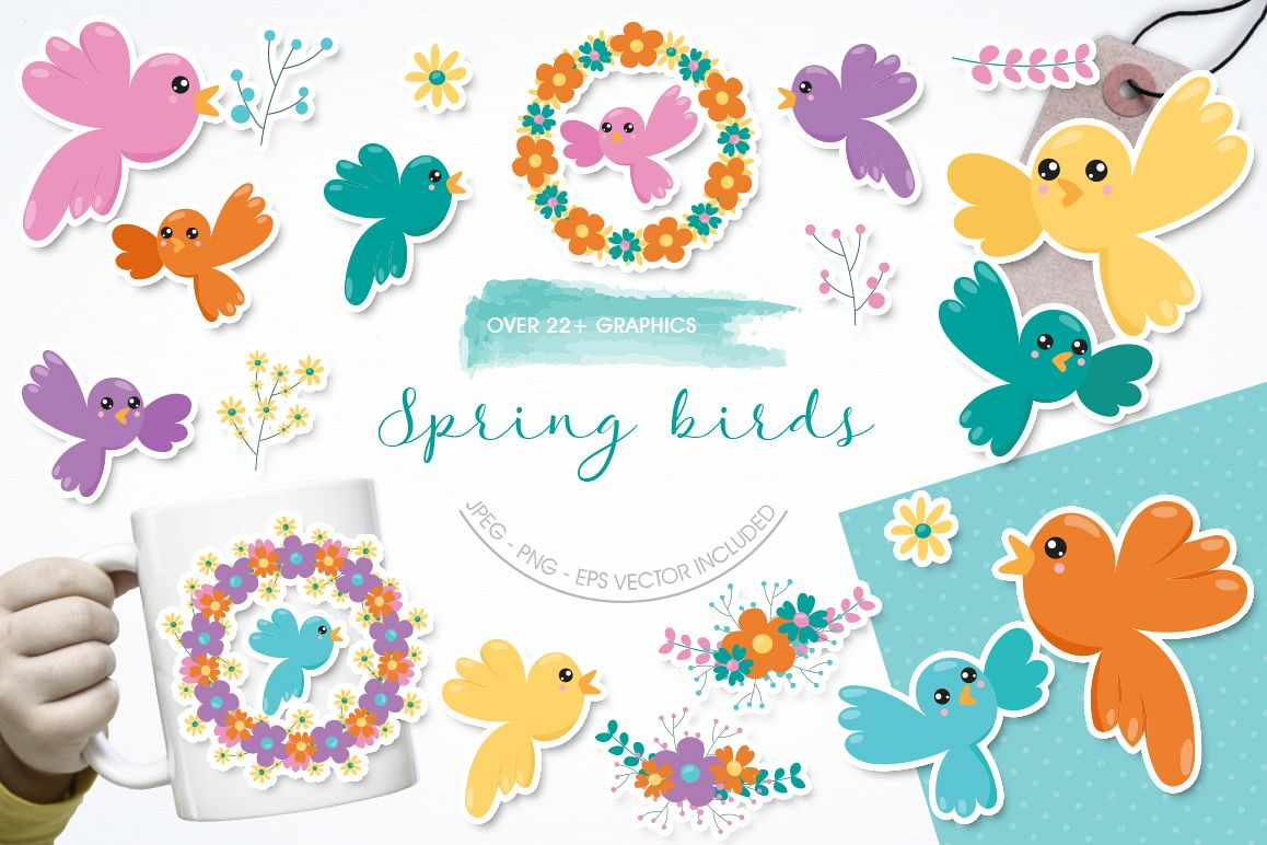 Spring Birds graphic and illustrations example image 1