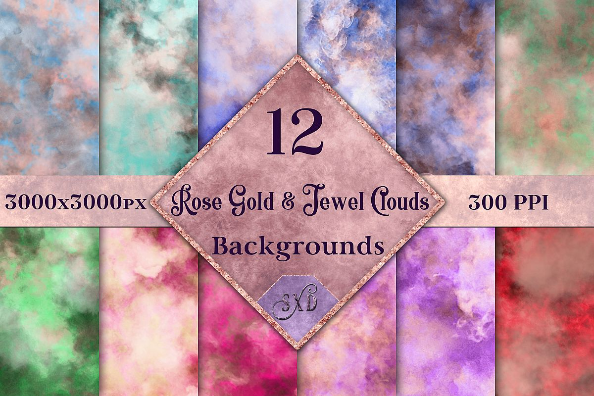 Rose Gold and Jewel Colour Clouds Backgrounds - 12 Image Set example image 1