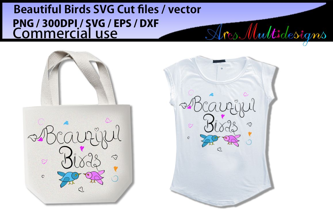 Beautiful birds SVG, EPS, Dxf, Png, Pdf, Jpg / hand drawn SVG cut file vector / Commerical & personal use example image 1