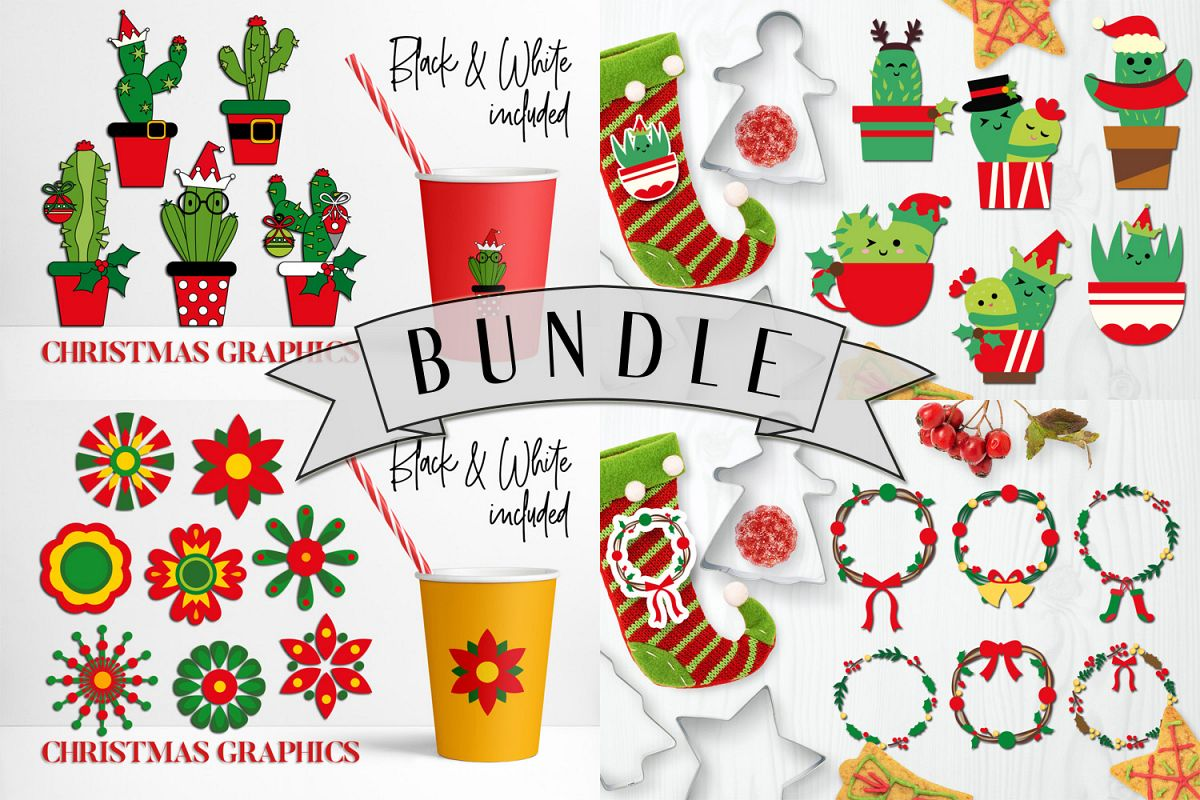 Christmas Bundle, Cactus and Flowers Illustrations example image 1
