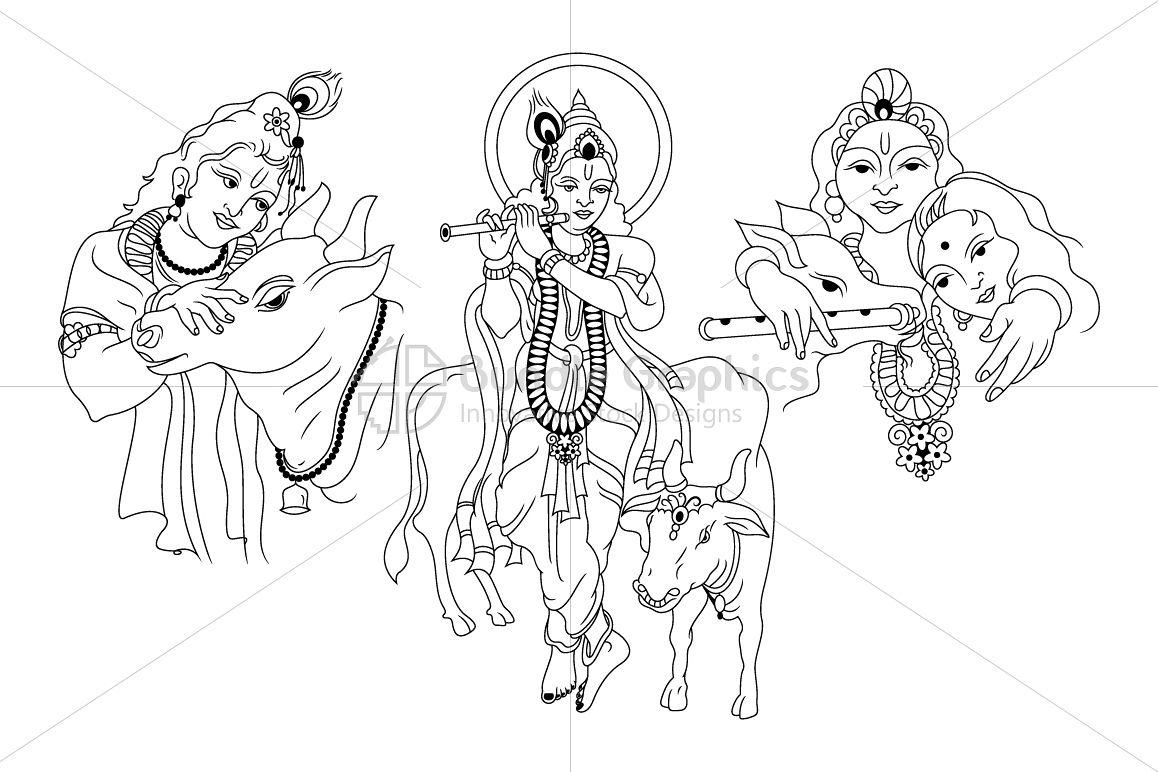 Krishna Radha - Indian Hindu Deity with Nandi example image 1