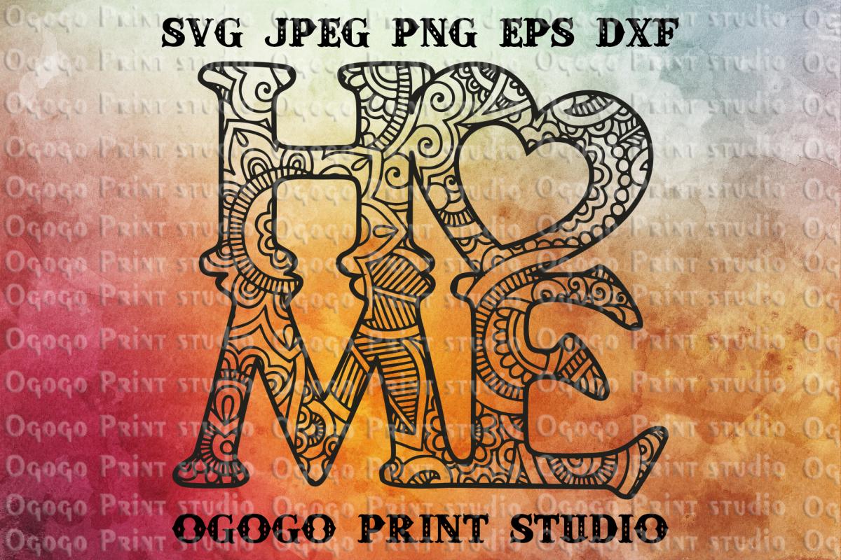 Home svg, Heart SVG, Mandala svg, Sweet home svg, Zentangle example image 1