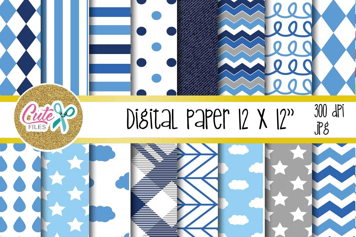 Blue cloud paper, polka and chevron digital paper example image 1