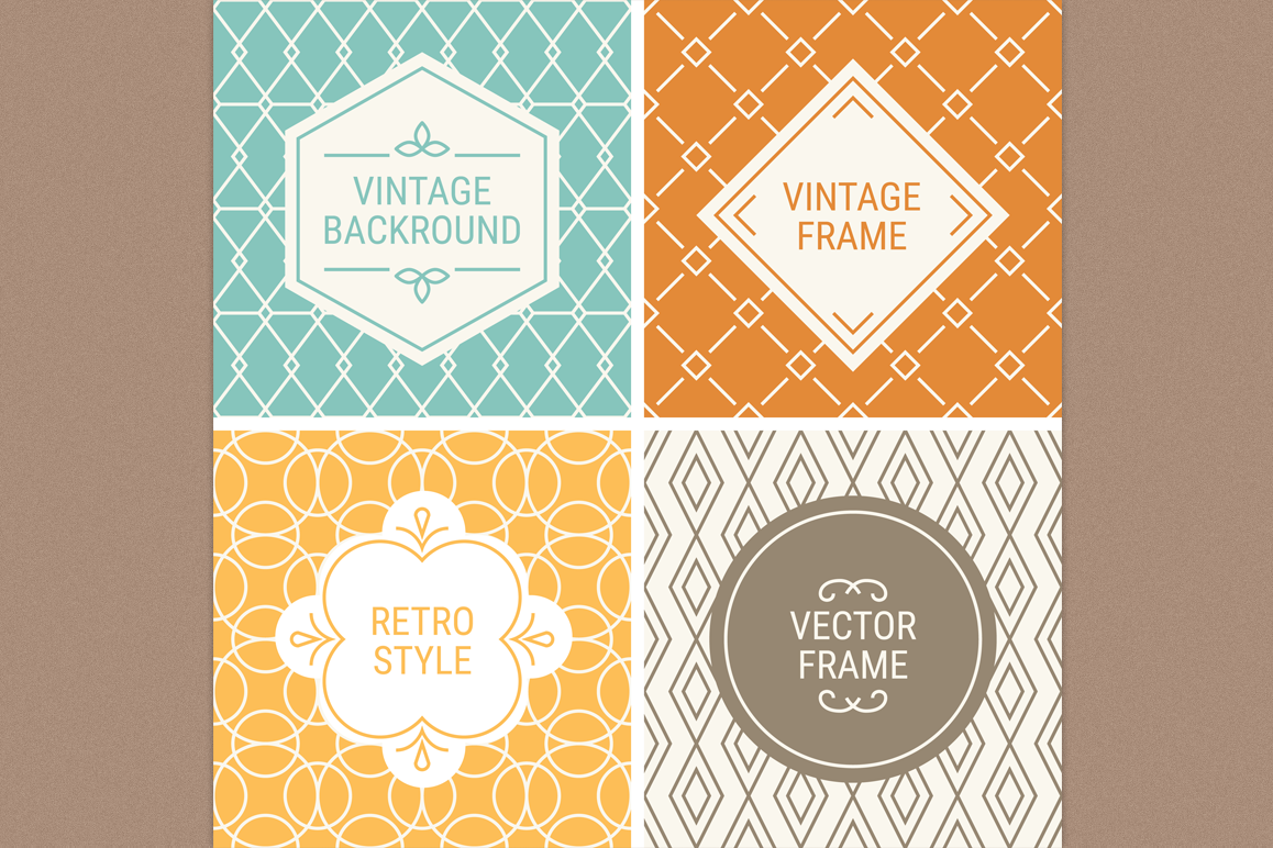 Mono Line Frames and Patterns - Set 11 example image 1