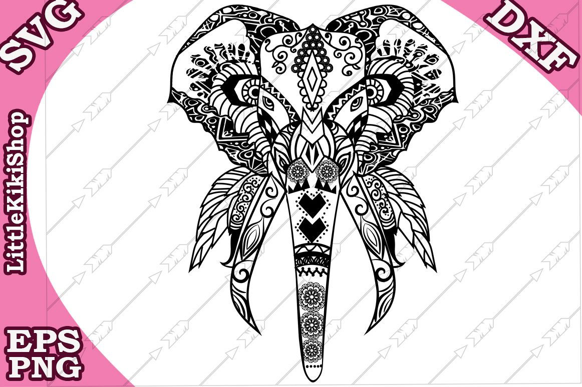 Elephant Svg,MANDALA ELEPHANT SVG, Zentangle Elephant Svg example image 1