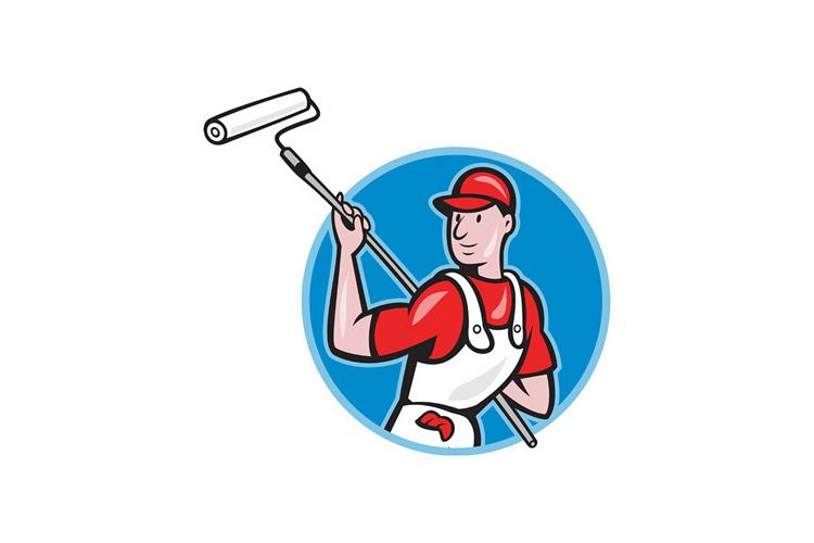 House Painter With Paint Roller Cartoon example image 1