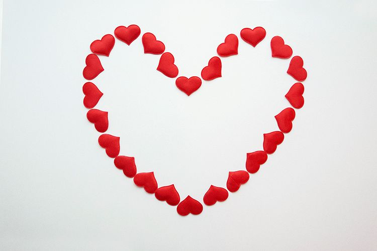 White background with red hearts example image 1