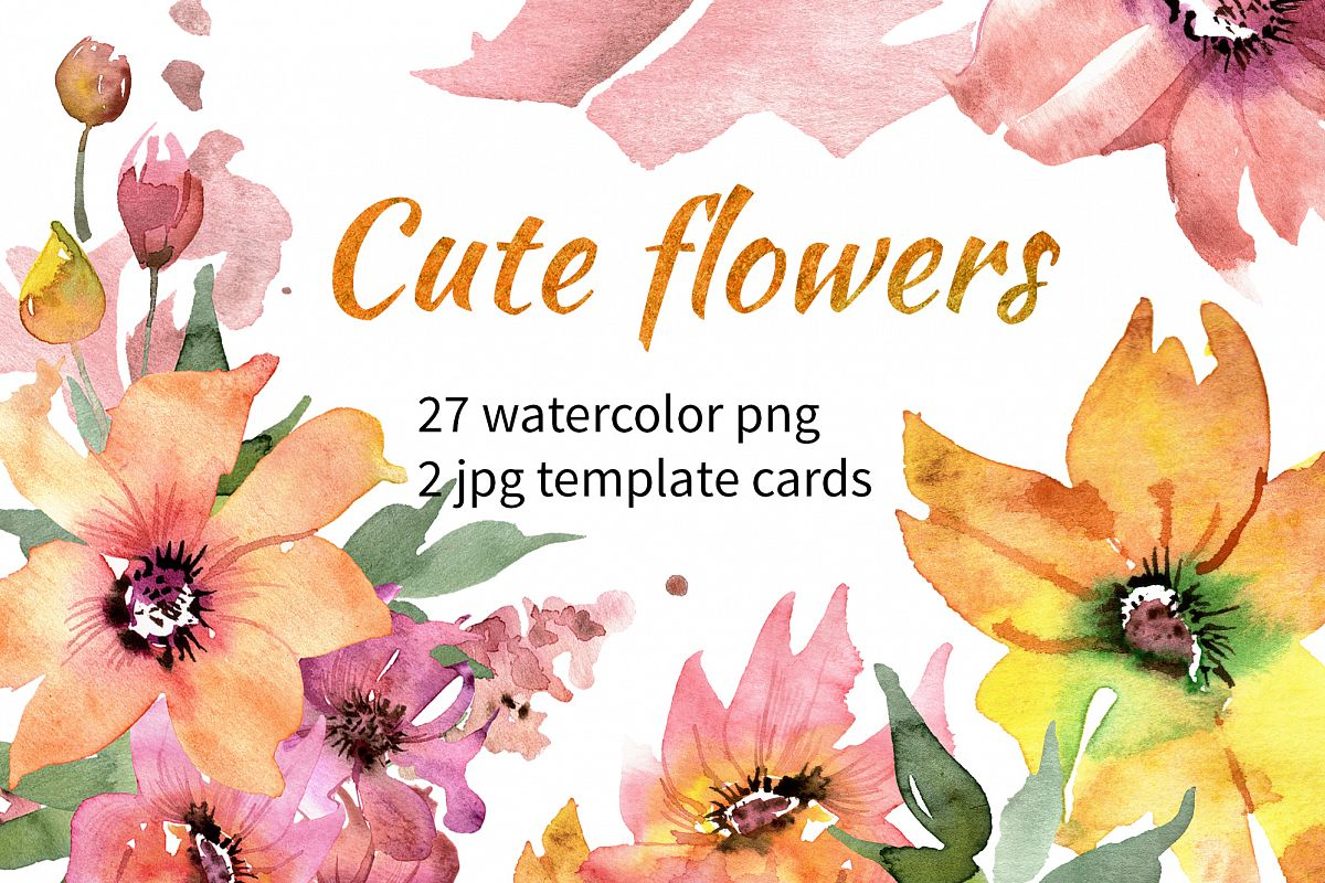 Cute Watercolor Flowers example image 1