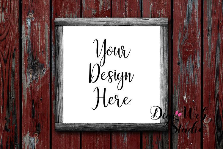 Wood Sign Mockup - Wood Frame on Red Distressed Wood example image 1