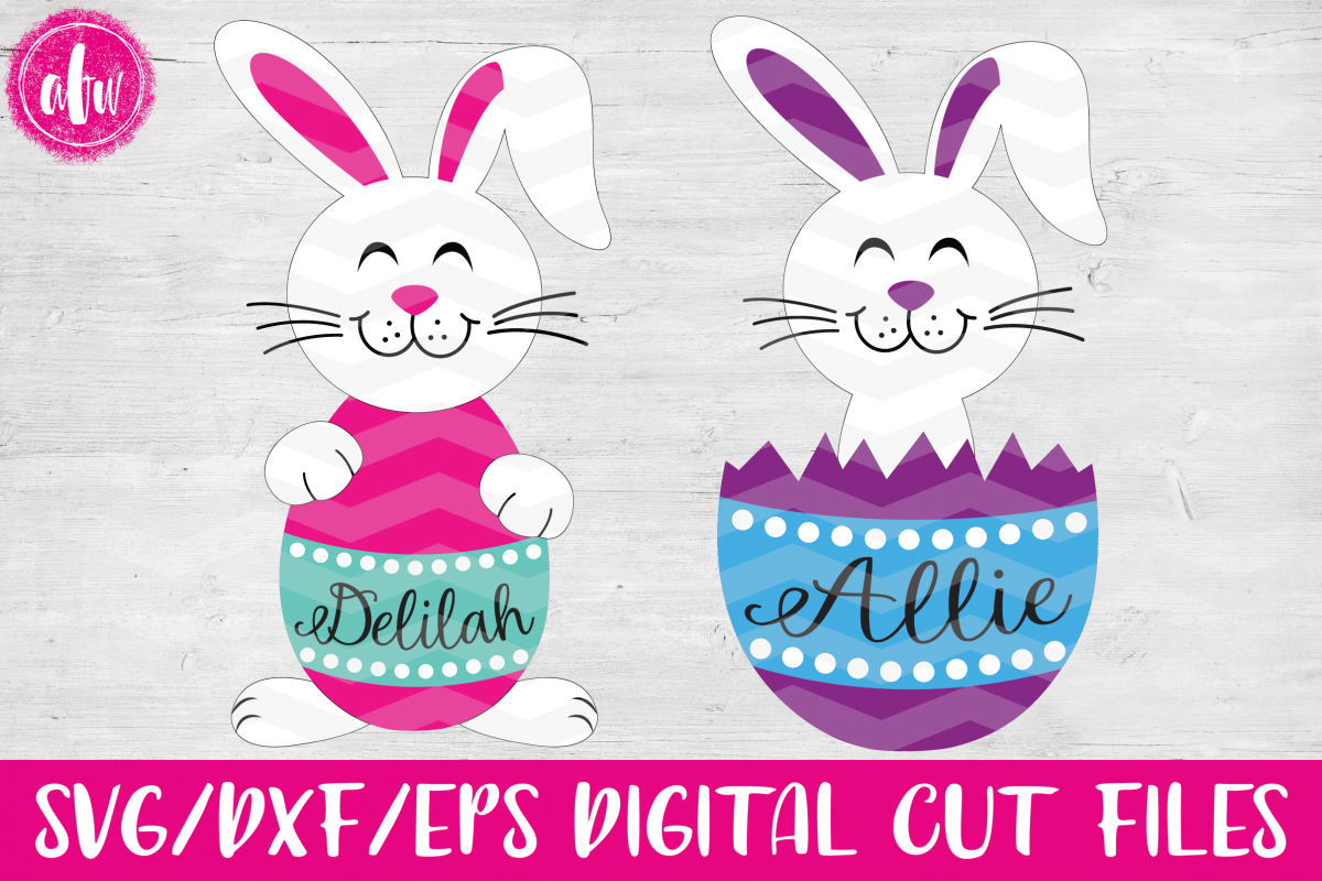 Easter Bunny Egg Duo - SVG, DXF, EPS Cut Files example image 1