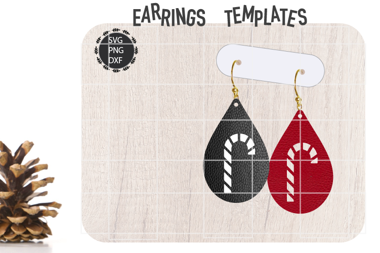 Christmas Candy Earrings Svg, Christmas Earrings Svg Templat example image 1