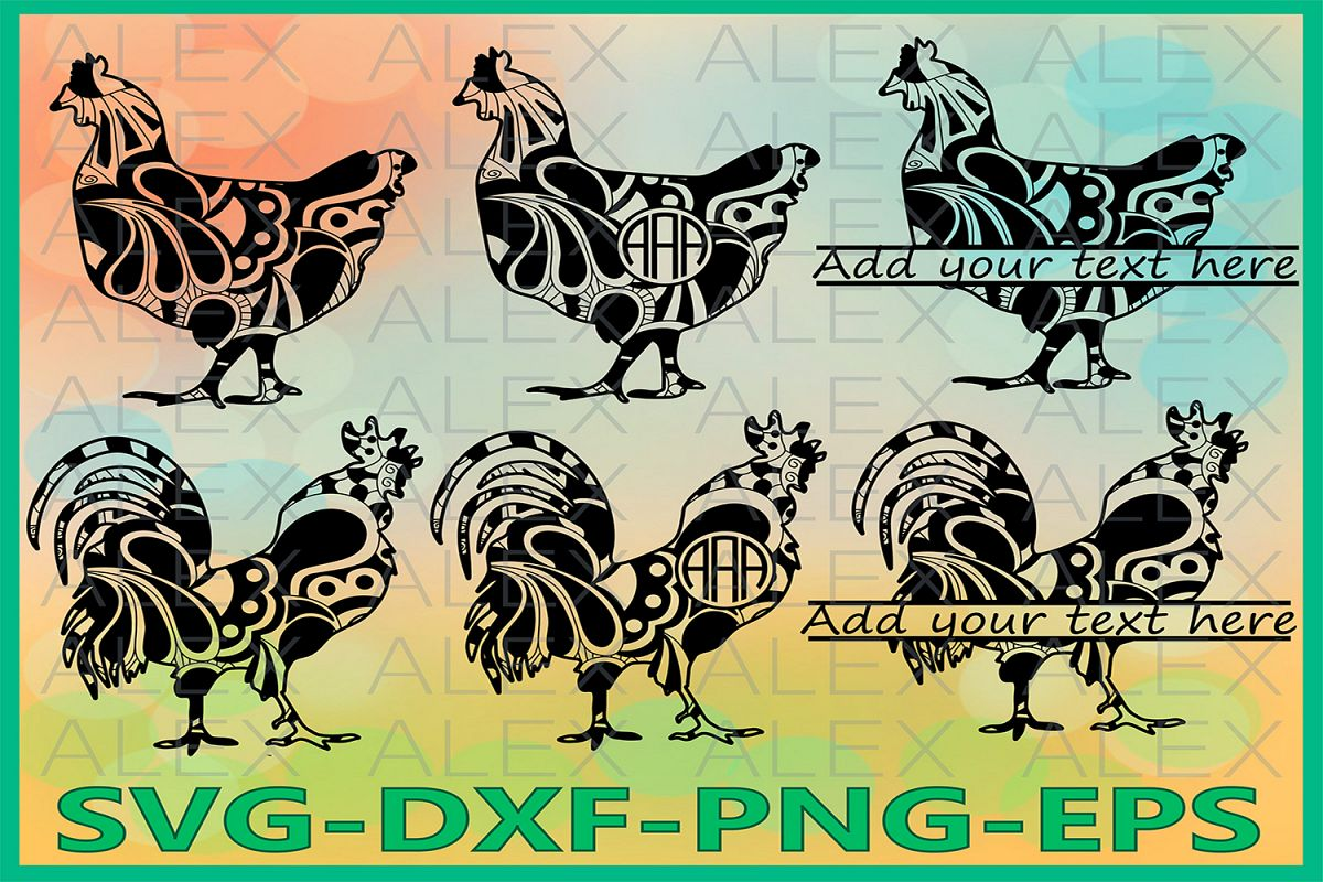 Cock Rooster Svg, Zentangle SVG, Chicken Monogram svg example image 1