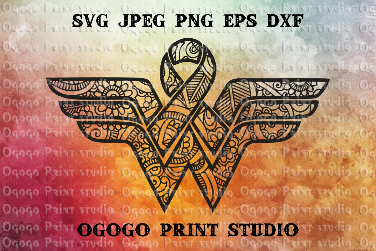 Cancer Ribbon Svg, Awareness SVG, Mandala svg, Zentangle SVG example image 1