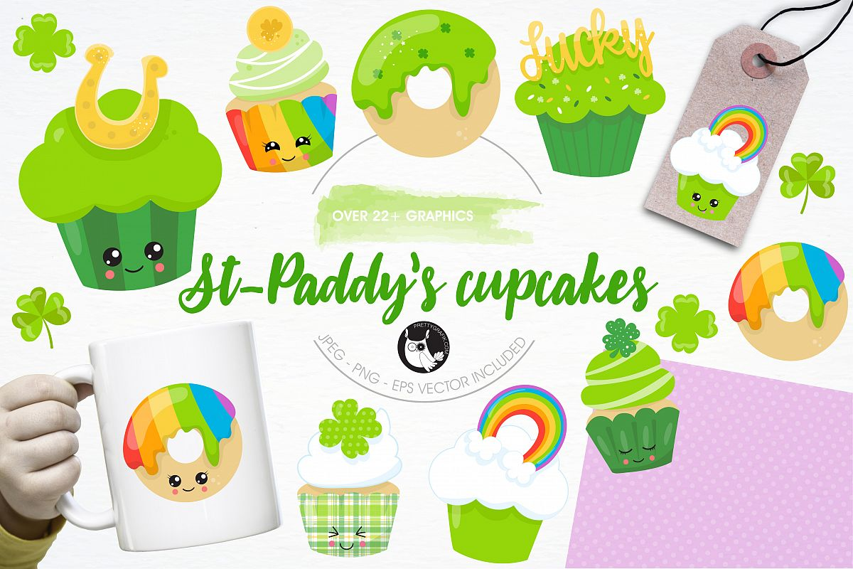 St-Patrick's cupcakes graphics and illustrations example image 1