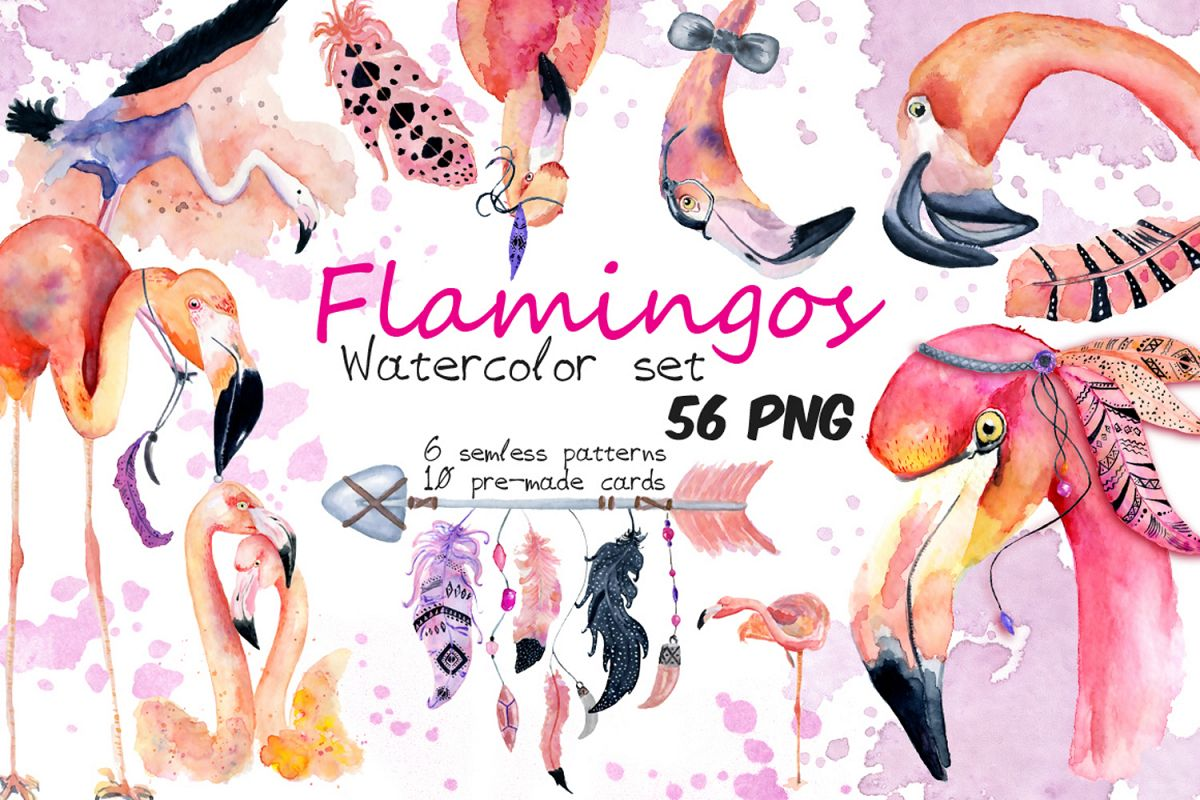 Boho flamingo Watercolor set example image 1