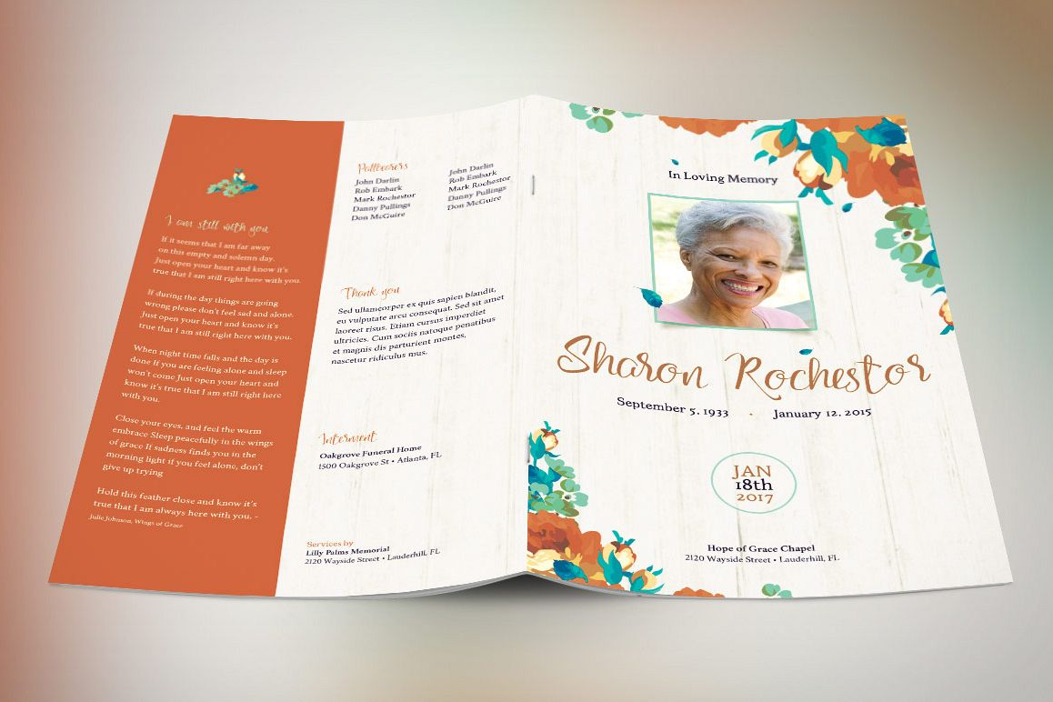 Autumn Floral Funeral Program Template example image 1