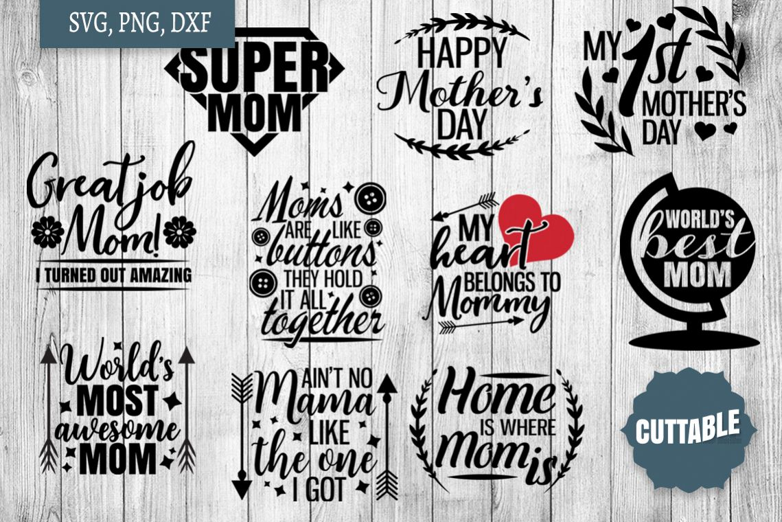 Mom cut file bundle, Mother's day svg, Mom svg cut files example image 1