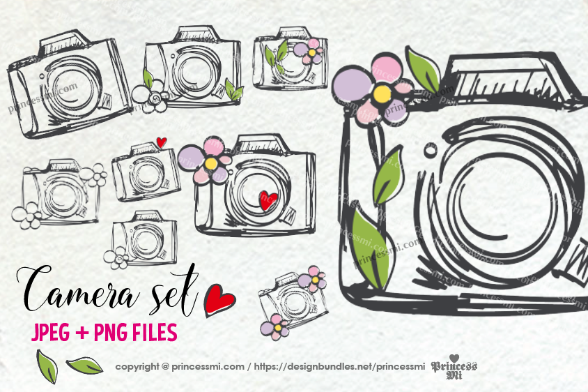 cute and fun camera clipart set, with flowers, love hearts example image 1