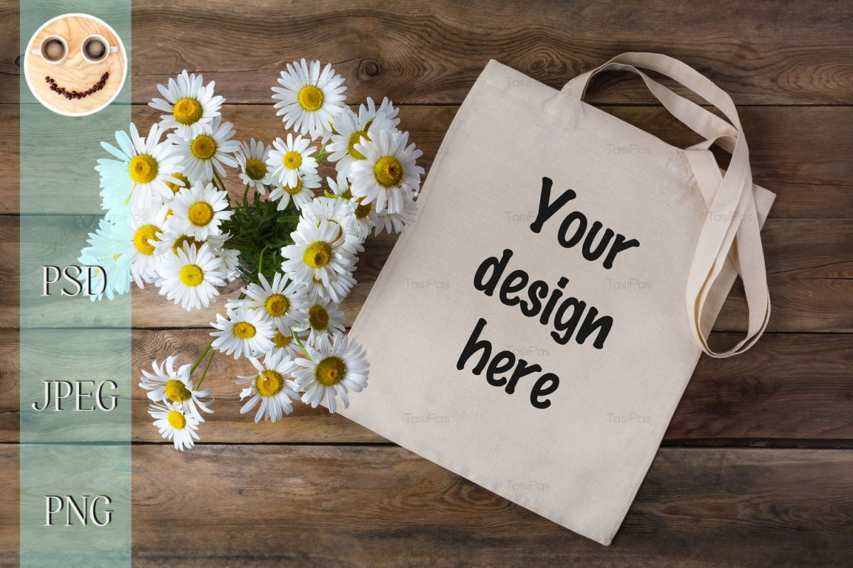 Rustic tote bag mockup with daisy example image 1