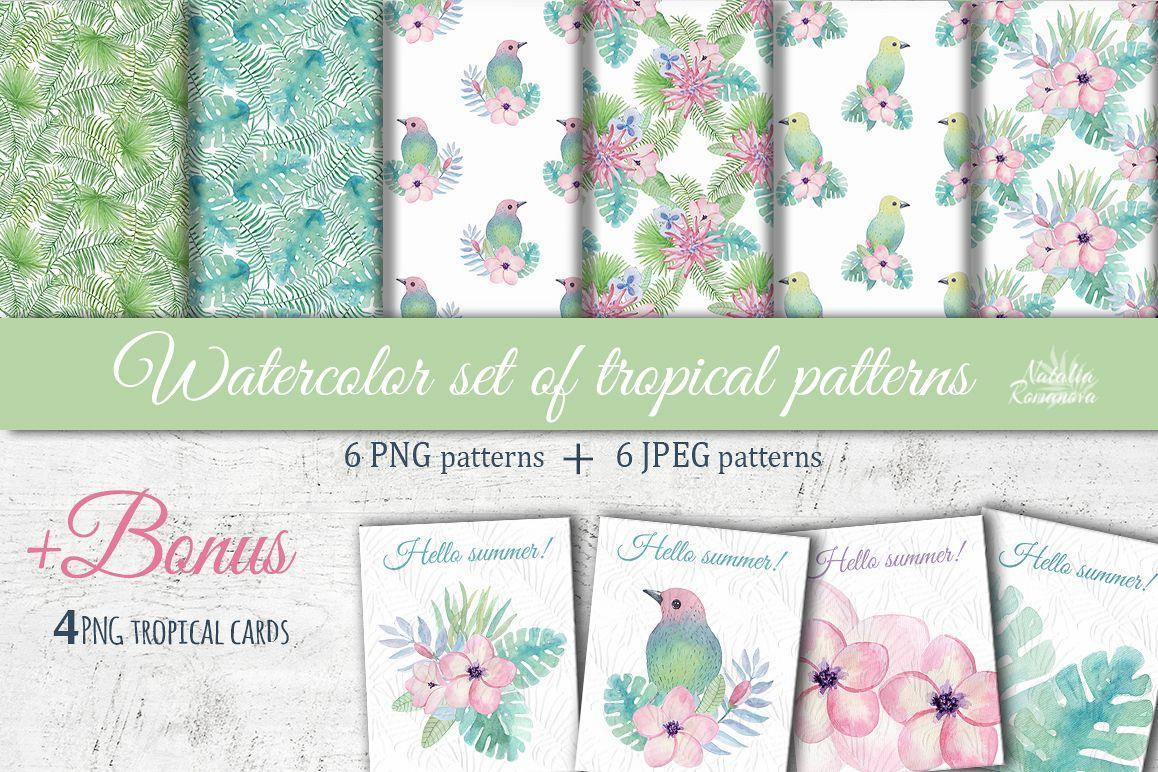 Tropical watercolor patterns + BONUS example image 1